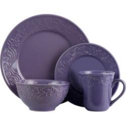 Elama Lilac Fields 16 Piece Dinnerware Set