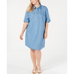 Karen Scott Plus Size Cotton Short-Sleeve Chambray Shirtdress, Created for Macy's found on Bargain Bro from Macy's Australia for USD $39.67