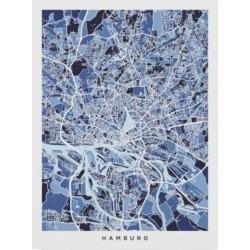Michael Tompsett Hamburg Germany City Map Blue Canvas Art - 20