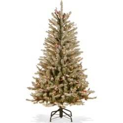 National Tree Company 4.5' Dunhill Fir Slim Hinged Tree With Snow, Red Berries, Pine Cones & 350 Clear Lights