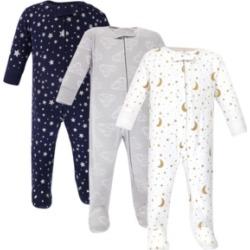 Hudson Baby Zipper Sleep N Play, Navy Stars & Moons, 3 Pack, 6-9 Months