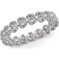 Inc Silver-Tone Imitation Pearl & Crystal Flower Stretch Bracelet, Created for Macy's found on Bargain Bro Philippines from Macy's for $33.37