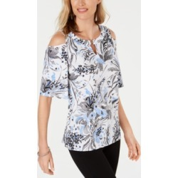 Jm Collection Printed Grommet Cold Shoulder Top, Created for Macy's found on MODAPINS from Macy's Australia for USD $42.89