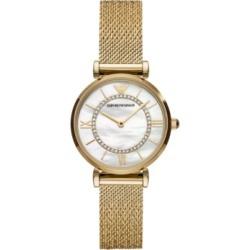 Emporio Armani Women's Gold-Tone Stainless Steel Mesh Bracelet Watch 32mm