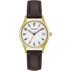 Caravelle Designed by Bulova Women's Brown Leather Strap Watch 30mm found on Bargain Bro India from Macy's Australia for $85.19