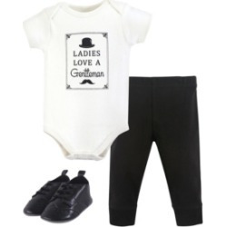 Baby Vision 0-18 Months Unisex Hudson Baby Baby Bodysuit, Bottom and Shoes, Gentleman 3-Piece Set