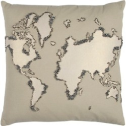 """Rizzy Home 20"""" x 20"""" World Map Poly Filled Pillow"""