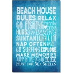"""Marcee Duggar 'Beach House Rules' Canvas Art - 32"""" x 22"""" x 2"""""""