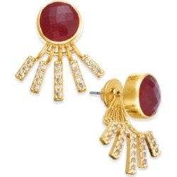 Paul & Pitu Naturally Gold-Tone Pave & Red Stone Jacket Earrings