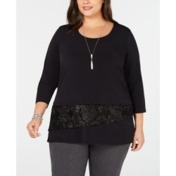 Jm Collection Plus Size Velvet-Trim Necklace Top, Created for Macy's found on Bargain Bro India from Macys CA for $26.15
