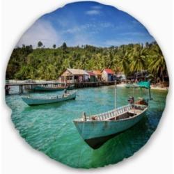 "Designart Fishing Boats in Kep Cambodia Seashore Throw Pillow - 16"" Round"