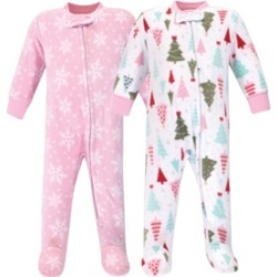 Hudson Baby Girl and Boy Fleece Sleep and Play 2 Pack