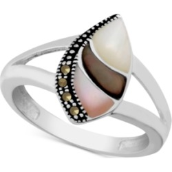 Genuine Swarovski Marcasite & Multi-Shell Ring in Fine Silver-Plate found on Bargain Bro Philippines from Macy's for $25.00
