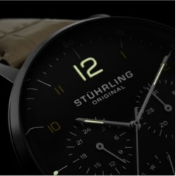 Stuhrling Original Men's Quartz Watch, Silver Case, Black Dial, Beige Genuine Leather Strap found on Bargain Bro from Macys CA for USD $114.99