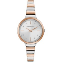 Bcbgmaxazria Ladies Two Tone Rose GoldTone Bracelet Watch with Silver Dial, 34mm found on Bargain Bro Philippines from Macy's Australia for $111.76