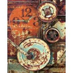 "Creative Gallery Industrial Rusty Wheels 36"" x 24"" Canvas Wall Art Print"
