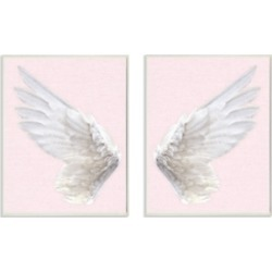 Stupell Industries Pink Wings 2 Piece Canvas Wall Art Set, 16