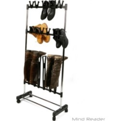 Mind Reader 3 Tier Revolving Shoe Rack Stand, Free Standing Shoe Organizer for Sneakers, Boots, Slippers