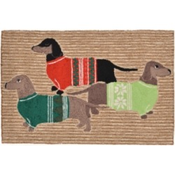 Liora Manne Front Porch Indoor/Outdoor Holiday Hounds Neutral 2' x 3' Area Rug