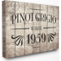 "Stupell Industries Home Decor Pinot Grigio Barrel Label Wine Kitchen Canvas Wall Art, 30"" x 40"""