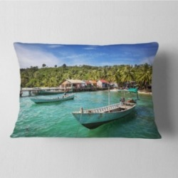 "Designart Fishing Boats in Kep Cambodia Seashore Throw Pillow - 12"" x 20"""