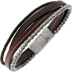 Sutton Stainless Steel Brown Leather And Hematite Multi-Strand Bracelet found on Bargain Bro India from Macy's Australia for $83.62