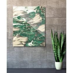 "Creative Gallery Paint Swipe Teal Green White Abstract 16"" x 20"" Acrylic Wall Art Print"