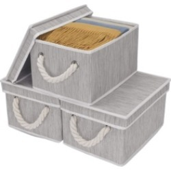 StorageWorks Foldable Fabric Storage Bin with Cotton Rope Handles and Lid 2-Pack found on Bargain Bro India from Macy's for $34.99