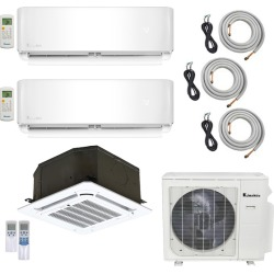 3-Zone Klimaire 22 SEER Multi-Zone Mini-Split 3-Room Air Conditioner Heat Pump System 12+12+12 with 25 ft. Installation Kit - Heat and Cool