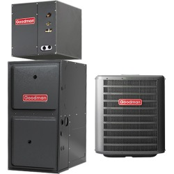 2.5 Ton A/C Goodman GSX160301 up to 16 SEER Central Air Conditioner 60,000 BTU 96% Efficiency Gas Furnace Up-flow System - Heat and Cool