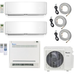 3-Zone Klimaire 22.5 SEER Multi-Zone Mini-Split 3-Room Air Conditioner Heat Pump System 12+12+18 with 25 ft. Installation Kit - Heat and Cool