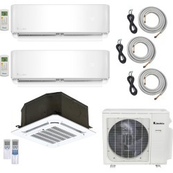 3-Zone Klimaire 22 SEER Multi-Zone Mini-Split Cassette 3-Room Air Conditioner Heat Pump System 9+9+12 with 15 ft. & 25 ft. Installation Kit found on Bargain Bro from HeatAndCool.com for USD $2,333.20