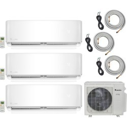 3-Zone Klimaire 20 SEER Multi-Zone Mini-Split 3-Room Air Conditioner Heat Pump System 12+12+12 with 16 ft. Installation Kit - Heat and Cool