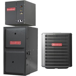2 Ton Goodman GSX160241 up to 16 SEER Central Air Conditioner 60,000 BTU 96% Efficiency Gas Furnace Up-flow System - Heat and Cool
