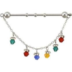 Multi-Color Gem Dangle Chain Industrial Barbell - 14 Gauge by Spencer's