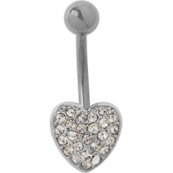 CZ Heart Titanium Belly Ring - 14 Gauge by Spencer's