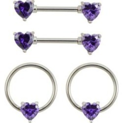 Multi-Pack CZ Heart Captive Nipple Rings and Nipple Barbells 2 Pair -  by Spencer's