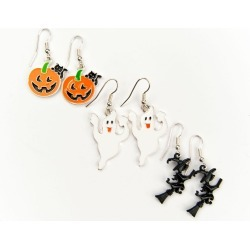 Pumpkin, Ghost and Witch Earrings Set by Spirit Halloween