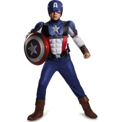 Kid's Muscle Retro Captain America Jumpsuit Costume - Marvel by Spirit Halloween