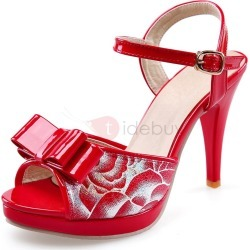 Printed Bowknots Peep-Toe Sandals