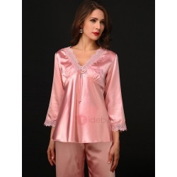 Womens V Neck Lace Simple Sleepwear 2 Pieces