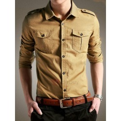 Plain Single-Breasted Lapel Mens Casual Shirt found on MODAPINS from TideBuy International for USD $75.00