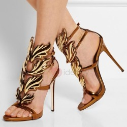Metallic PU Stiletto Heel Sandals