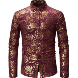 Floral Print Lapel Mens Fashion Shirt