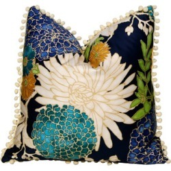 Cotton Pillow, Flower Print and Off White PomPom Trim - Contemporary - Decorative Pillows - by PillowFever found on Bargain Bro from  for $79