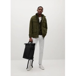 Canvas backpack with flap found on Bargain Bro UK from MANGO