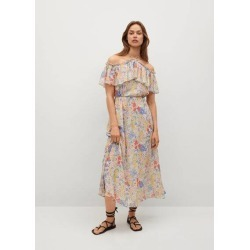Ruffled floral dress found on MODAPINS from MANGO for USD $84.80