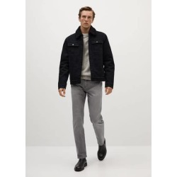 Faux shearling-lined denim jacket found on Bargain Bro UK from MANGO