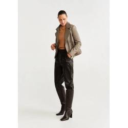 Lapelled leather biker jacket found on Bargain Bro UK from MANGO