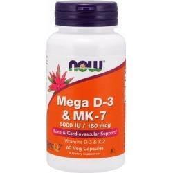 Mega D-3 & Mk-7 60 Veg Caps by Now Foods